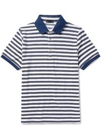 Slim fit striped cotton blend terry polo shirt medium 1149153