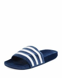 adidas Adilette Striped Velvet Slide Sandal Blue