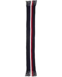Moncler Wool Striped Fringe Scarf Navy