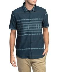 Navy Horizontal Striped Short Sleeve Shirt