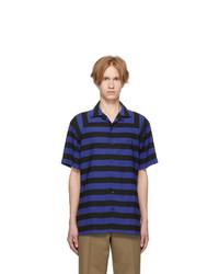Lanvin Black And Blue Striped Bowling Shirt