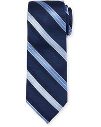 Neiman Marcus Boxed Striped Silk Tie Blue