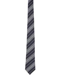 Brunello Cucinelli Navy Grey Silk Multistripe Tie
