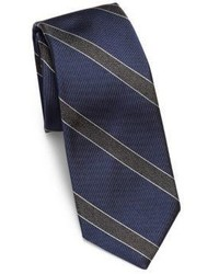 Theory Woven Striped Rib Knit Silk Tie