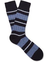 Pantherella Apsley Striped Cashmere Blend Socks