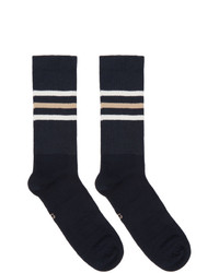 Gucci Navy And Beige Striped Gg Socks