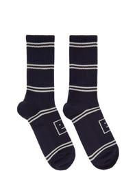 Acne Studios Navy Motif Jacquard Striped Socks