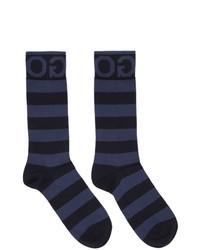Hugo Two Pack Navy Stripe Logo Socks