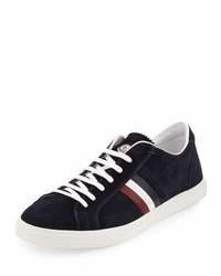 Moncler Tricolor Suede Low Top Sneaker Navy