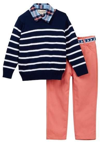Beetle Thread Plaid Dress Shirt V Neck Sweater Twill Pant Set