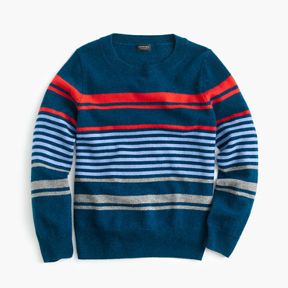 J.Crew Kids Cashmere Sweater In Mixed Up Stripe