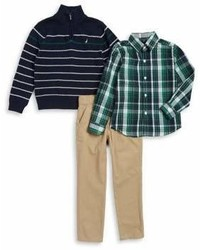 Nautica Little Boys Three Piece Ribbed Cotton Sweater Plaid Collared Shirt And Pants Set