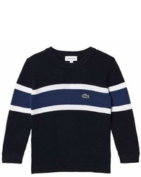 Lacoste Navy White Stripe Small Logo Sweater