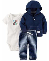 Carter's Carters Baby Boy Wild About Mommy Bodysuit Hooded Cardigan Striped Pants Set