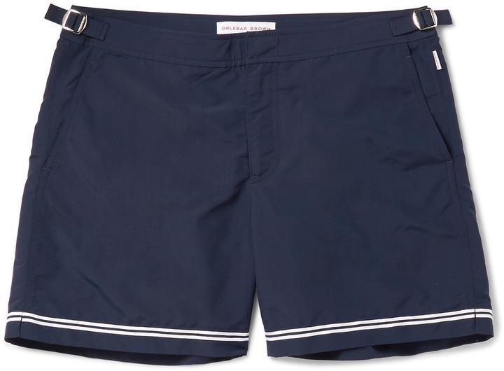 36d8190f7f19f Orlebar Brown Bulldog Mid Length Stripe Trimmed Swim Shorts, $245 ...