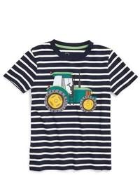 Boys Mini Boden Tractor Applique Stripe T Shirt