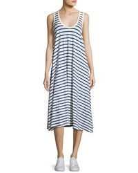The Great The Swing Tank Striped Midi Dress Bluewhite