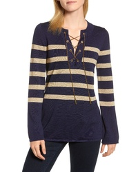 MICHAEL Michael Kors Chain Lace Up Stripe Sweater