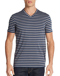 Saks Fifth Avenue Engineer Striped V Neck Tee