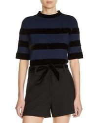 Maje Velvet Stripe Milano Knit Crop Top