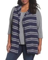 Plus size hooded stripe vest medium 4107456