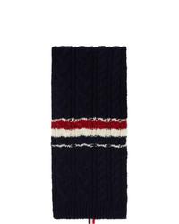 Thom Browne Navy Aran Tweed Funmix Rwb Stripe Scarf
