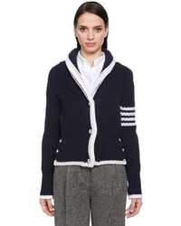 Thom Browne Intarsia Stripes Wool Knit Cardigan