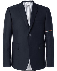 Thom Browne Single Breasted Sport Coat With Red White And Blue Selvedge In Medium Grey School Uniform Twill