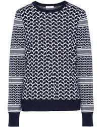 Navy Houndstooth Crew-neck Sweater