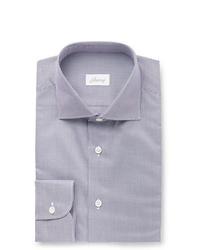 Brioni Navy Cutaway Collar Puppytooth Cotton Shirt