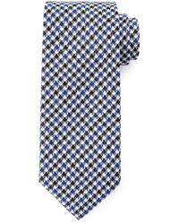 Tom Ford Houndstooth Stripe Silk Tie Blue