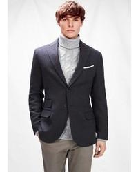 Mango Outlet Houndstooth Wool Blend Blazer