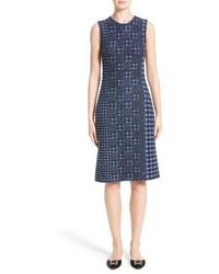 Oscar de la Renta Pixelated Houndstooth Sheath Dress