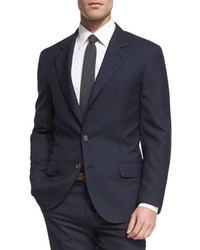 Brunello Cucinelli Pied De Poule Mini Houndstooth Wool Suit Navy