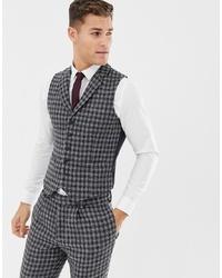 Navy Houndstooth Wool Waistcoat