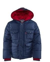 Levi's Navy Hooded Puffer Coat