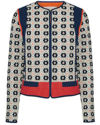 Tory Burch Rainford Fil Coup Jacquard Jacket Navy
