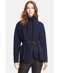 Lanvin Shawl Collar Stretch Woven Jacket With Leather Belt