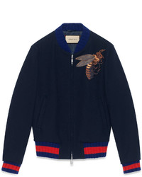Gucci Wool Bomber Jacket With Bee Appliqu