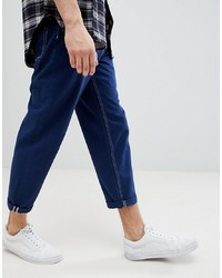 ASOS DESIGN Asos Skater Fit Jeans In Blue With Contrast Stitching