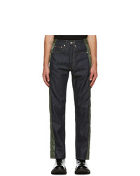 Alexander McQueen Blue And Khaki Hybrid Jeans