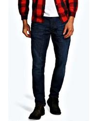 Boohoo Skinny Fit Indigo Panelled Jean