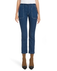 Chloé Circle Stitch Crop Straight Leg Jeans