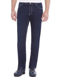 Stefano Ricci Contrast Stitch Denim Jeans With Lizard Patch Dark Blue