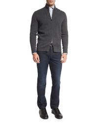 Ermenegildo Zegna Cotton Silk Five Pocket Denim Jeans Dark Indigo