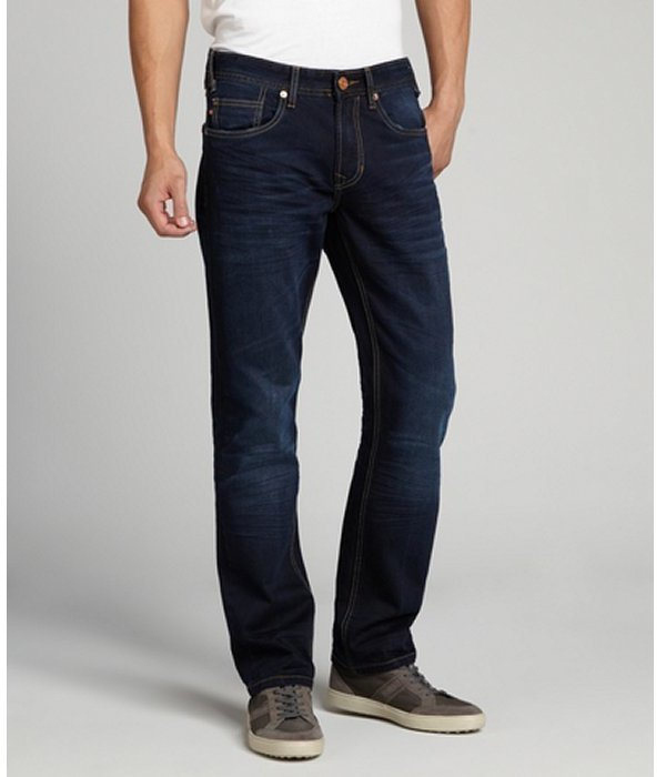 Fresh Dark Blue Stretch Denim Jaimy Straight Leg Jeans
