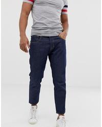 Jack & Jones Dark Wash Jeans In Tapered Cropped