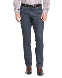 Brioni Dark Wash Straight Leg Denim Jeans Blue