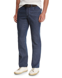 Brioni Dark Wash Stretch Denim Jeans Blue