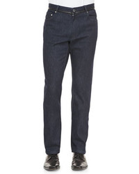 Brioni Denim Jeans With Leather Trim Navy
